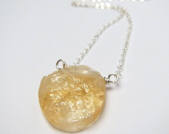 Rough Citrine Drop on Short Sterling Silver Chain Necklace, Modern Simple Gemstone Necklace, 14K Gold Filled Option