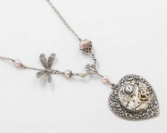Steampunk Necklace, Heart Necklace with Vintage Watch, Blush Pink Genuine Pearl, Crystal Stone & Dragonfly Charm on Silver Rolo Chain, Gift