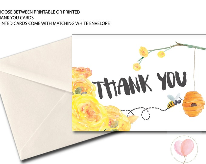 Bee Thank You Card // Folded Thank You // bees // yellow // flower // Watercolor // Printed // MELBOURNE COLLECTION