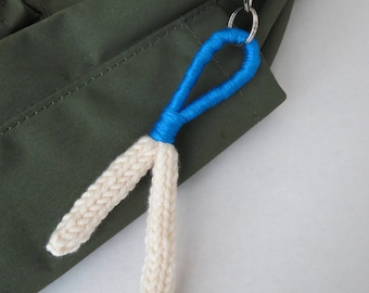 Knitted Keychain / Purse Charm - Blue / White
