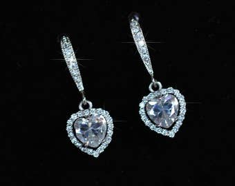 Handmade Delicate Cubic Zirconia CZ Heart Halo Dangle Bridal Earrings, Bridal, Wedding (Sparkle-2345)