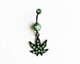 cute belly ring,Marijuana leaf  belly ring, black, green, crystal,Belly Button Jewelry  belly button navel body jewelry bellybutton ring