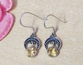 NATURAL CITRINE Gemstone Studded In Solid 925 Sterling Silver Earrings, Handmade Dangle Earrings, November Birthstone