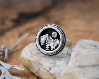Mountain Shadowbox Ring - Moonstone and Silver - Mountain Moon and Pine Trees - Nature Landscape Statement Ring - Hammered Band