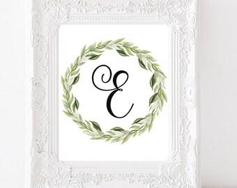 Nursery Monogram E Letter Monogram Laurel Wreath Print Letter E Initial Wall Art Initial Calligraphy Monogram Printable E Nursery Letter Art