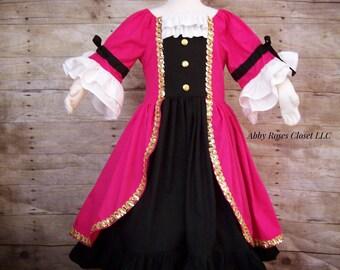 Pirate dress , Captain Hook dress ,girls pirate dress, girls pirate costume pirate costume