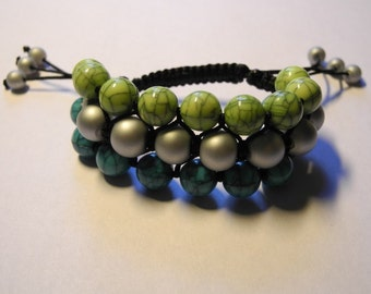 Shamballa style bracelet, beaded bracelet, boho bracelet