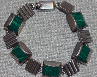 Vintage Sterling Taxco Malachite Link Bracelet