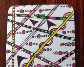 """Zentangle Coasters - Fun Drinking Coasters - Set of Artistic Coasters hand drawn by ZenJoanie - """"Which Way"""""""