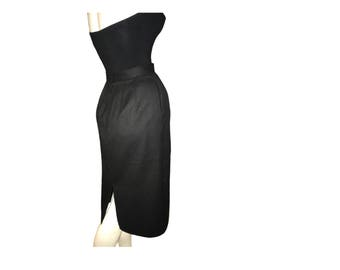 Vintage  black wool pencil skirt