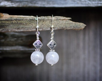 Rose Quartz and Celtic Knot Earrings: 50% purchase price donated...(read more below)