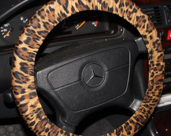 Leopard Steering wheel cover - Animal print wheel cover - Car Accessories - Women's wheel cover .