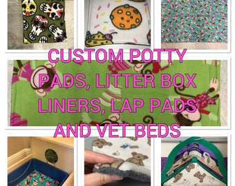 SALE 10 PERCENT OFF Custom Litterbox Liners, Potty Pads, Lap Pads, Vet Beds for Hedgehogs, Guinea Pigs, Chinchillas, Ferrets, Rabbits, and o
