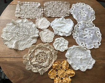 12 Vintage Handmade Crocheted Lace Doilies