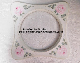 Circle Wood Frame Distressed and Hand Painted with Cottage Pink Roses, Wall Decor, Wall Art, Collectible, ECS