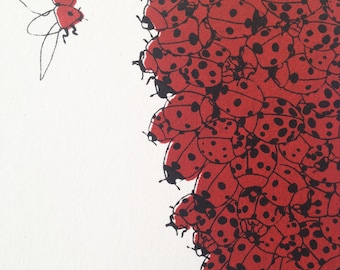 Screen print // Nature illustration // Pine cone of ladybugs // Silk screen // hand printed // NOW 25% OFF