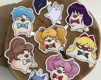 Dilbert Sailor Moon Stickers, Sailor Moon Costume/ disguise, Sticker Pack, Mars, Jupiter, Venus, Mercury, Rini, Luna, Artemis, Cat Stickers