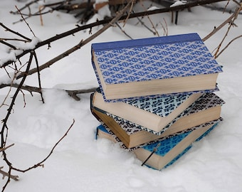 Winter Reading No. 2 - book photograph - snow white blue art photo