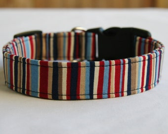 Dog Collar-Red White Blue Khaki Stripe- Adjustable Dog- Pet Collar-Small to Large Breed Dog-5/8- 1 inch 1.5 -2 inch width