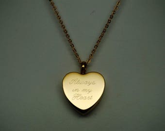 """Engraveable """"Always in my Heart"""" Gold Over 316L Stainless Steel Cremation Urn Necklace 