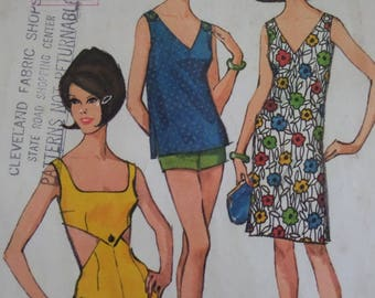 PIN UP SWIMSUIT Pattern • McCalls 7792 • Miss 12 • 2pc Bathing Suit • Button Shift • Sewing Patterns • Vintage Patterns • WhiletheCatNaps