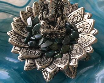 Ganesh and Lotus Incense Holder, Ganesh, Lotus, Incense Holder, Stick Incense, Bloodstone Crystals, Small Bloodstone Crystals