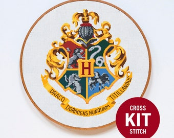 Hogwarts Cross Stitch KIT, Harry Potter Cross Stitch Kit, Hogwarts Crest Cross Stitch Kit, Modern Counted Cross Stitch Pattern Instructions