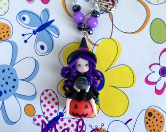 Witchy Halloween themed charm necklace. Necklace witch for Halloween in polimerclay witch