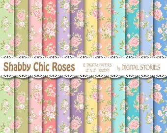 """Shabby Chic Digital Paper: """"SHABBY CHIC GARDEN"""" Floral pastels digital papers with roses for scrapbooking, invites, cards"""
