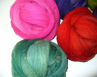 Wool Top Fine Mixed Breed for Hand Spinning or Felting Pink Ball Only