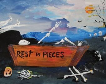 Original Painting * REST IN PIECES * Ghost And Cemetary * Art By Rodriguez