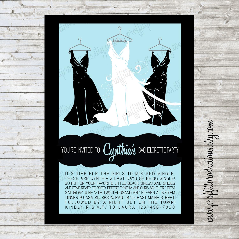 Little Black Dress custom bridal shower invitation with