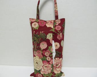 Hanging Tissue Box Cover For Skinny Kleenex/Peony And Chrysanthemum
