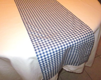 Navy and White Gingham Table Runner, Western party,Wedding Table, Bridal Shower, Baby Shower, Cowboy Party, Cowgirl Party