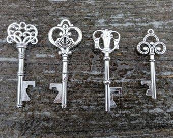 50+ Winter Wedding Favors, Assorted Silver Key Bottle Openers, FREE Tags & Twine!