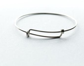 Adjustable Bangle Bracelet, Charm Bracelet, Silver Bracelet, Charm Bracelet, Adjustable Bracelet, Wire Bangle Bracelet, Sterling Silver
