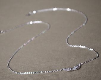 Angel wing necklace rhinestone crewneck