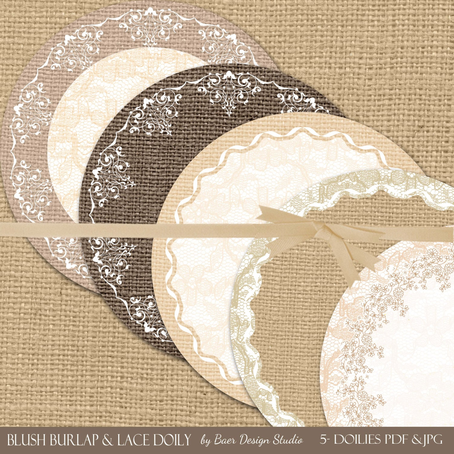 Instant Download Digital Lace Doily Printable Paper Doily