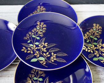 5 Cobalt and Gold Japanese Plates