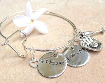 Mother Daughter Jewelry, Mom Bracelet, Personalized Bangle Bracelet, Custom Bangle, Personalized Family Bangle, Hand Stamped Custom Bangle
