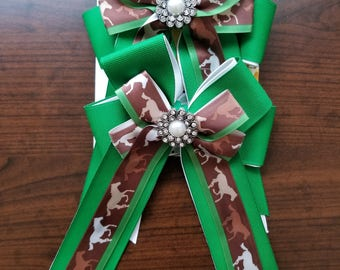 Green, Brown, & White Horses Equestrian Show Bows (Grand Champion Size)