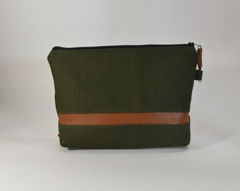 Army Green Travel Bag.Coin purse.Cosmetic bag.Cotton leather clutch.lined make up bag.Army Green Pouch.waxed cotton lining.Trendy Boho