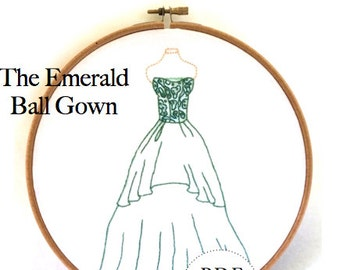 "Emerald Green Vintage Ball Gown Dress  -  7"" tall -PDF Hand Embroidery Pattern Instant Download"