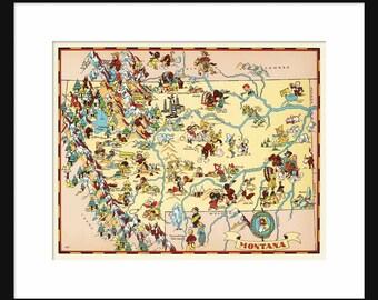 Montana Map - Map of Montana - Vintage Map - Print - Poster - Wall Art - Home Decor