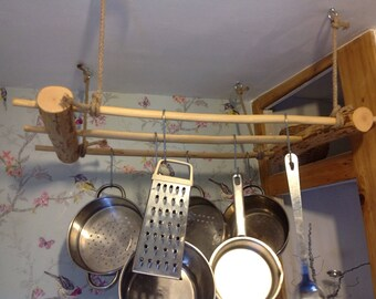 Pot rack. Natural wood hanging pot rack. Kitchen storage. Kitchen decor. Handmade rustic saucepan hanger. Pan / utensil / mug / cup hooks.