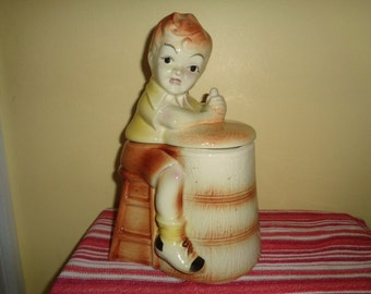 Charming Vintage American Bisque Churn Boy Cookie Jar