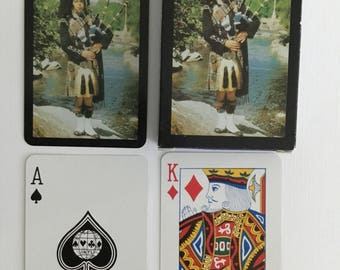Scottish bagpipe player back, plastic coated, playing cards, samson's gift, sights of Britain