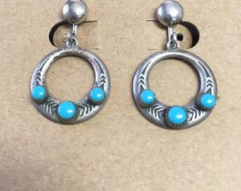 "Vintage 70's ""TURQUOISE & SILVER CIRCLE Earrings"" Screw backs - Native American Design"