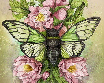 Needlepoint kits, Green Cicada, Bead embroidery kit, DIY, gift idea, beadwork decoration, embroidery wall art, beading picture,