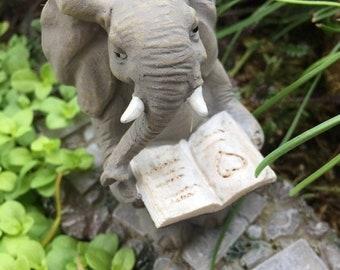 SALE Elephant Figurine, Elephant Reading A Book, Mini Elephant, Style 4565, Fairy Garden Accessory, Home & Garden Decor, Shelf Sitter, Toppe